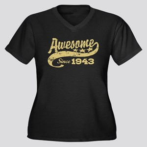 Awesome Since 1943 Women's Plus Size V-Neck Dark T