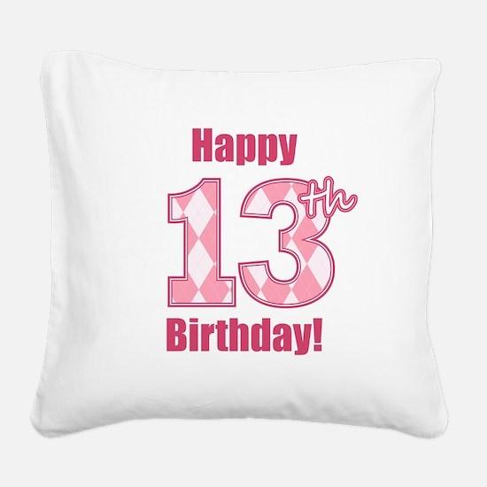 Happy 13th Birthday - Pink Argyle Square Canvas Pi