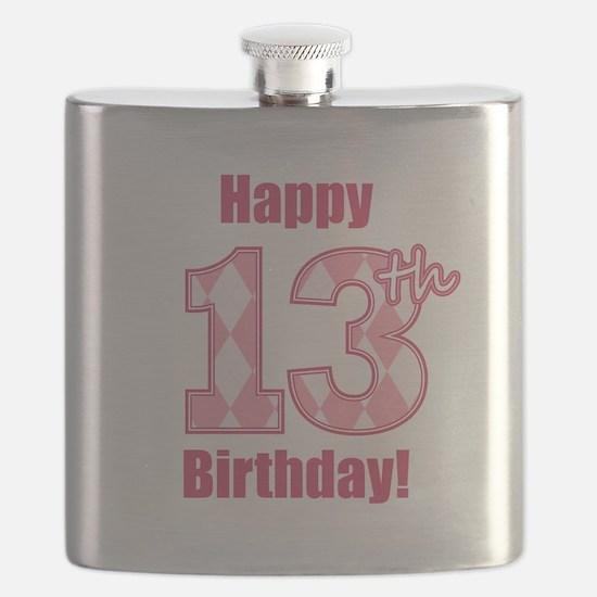 Happy 13th Birthday - Pink Argyle Flask