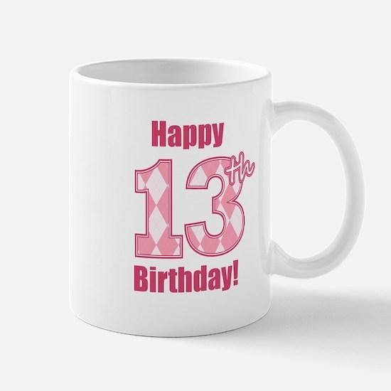 Happy 13th Birthday - Pink Argyle Mug