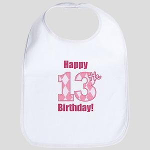 Happy 13th Birthday - Pink Argyle Bib