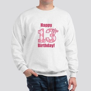 Happy 13th Birthday - Pink Argyle Sweatshirt