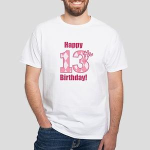 Happy 13th Birthday - Pink Argyle T-Shirt