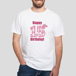 Happy 15th Birthday - Pink Argyle T-Shirt
