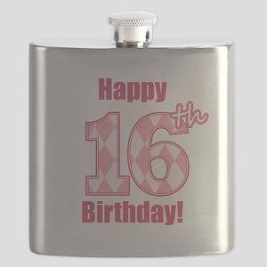 Happy 16th Birthday - Pink Argyle Flask