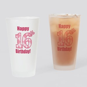 Happy 16th Birthday - Pink Argyle Drinking Glass