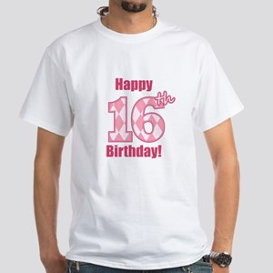 Happy 16th Birthday - Pink Argyle T-Shirt