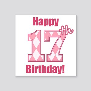 Happy 17th Birthday - Pink Argyle Sticker