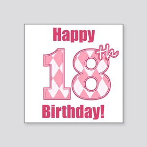 Happy 18th Birthday - Pink Argyle Sticker
