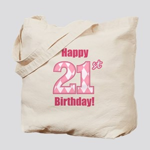 Happy 21st Birthday - Pink Argyle Tote Bag