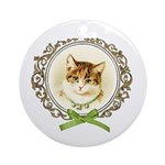Vintage cute kitten Ornament (Round)
