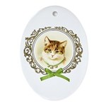 Vintage cute kitten Ornament (Oval)