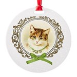 Vintage cute kitten Round Ornament