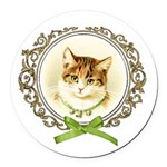 Vintage cute kitten Round Car Magnet