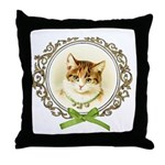 Vintage cute kitten Throw Pillow