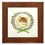 Vintage cute kitten Framed Tile