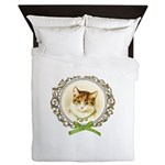 Vintage cute kitten Queen Duvet