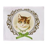 Vintage cute kitten Throw Blanket