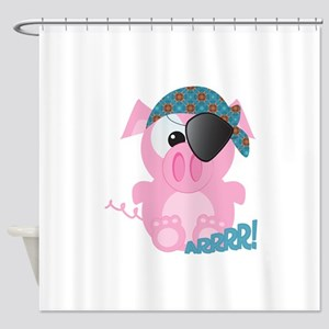 piggy pirate Shower Curtain