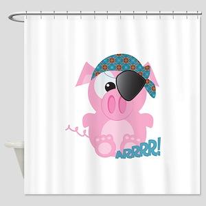 piggy pirate Shower Curtain