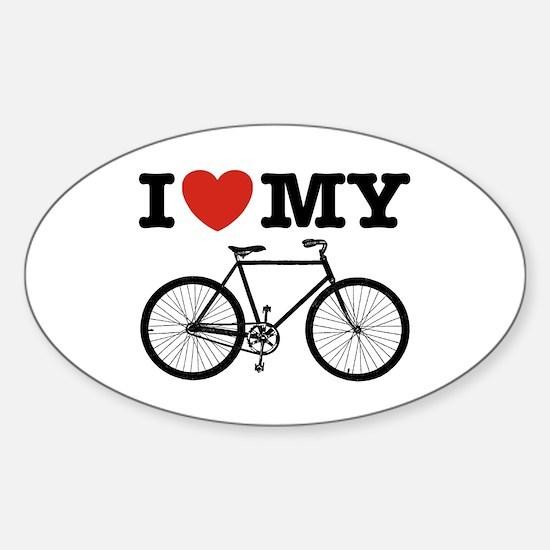 I Love My Bicycle Sticker (Oval)