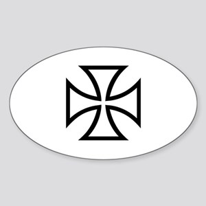 Black iron cross Sticker (Oval)