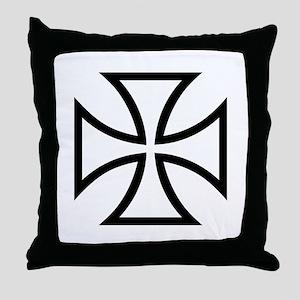 Black iron cross Throw Pillow