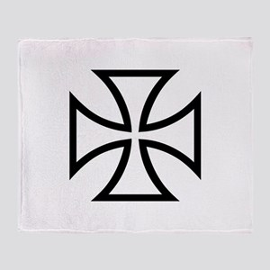 Black iron cross Throw Blanket