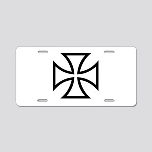 Black iron cross Aluminum License Plate