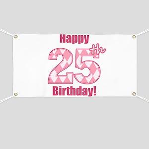 Happy 25th Birthday - Pink Argyle Banner