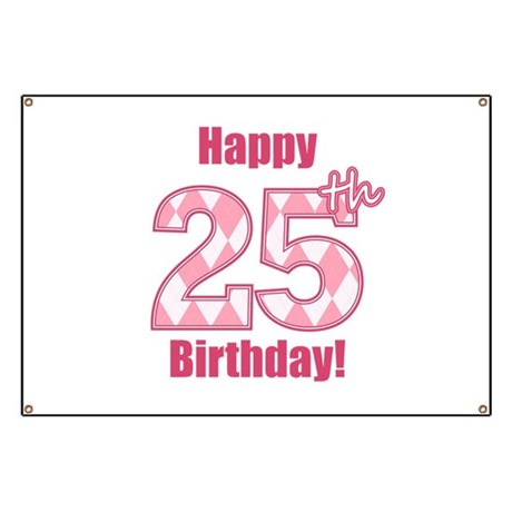 happy 25th birthday   pink argyle banner by mightybaby