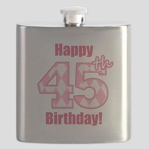 Happy 45th Birthday - Pink Argyle Flask