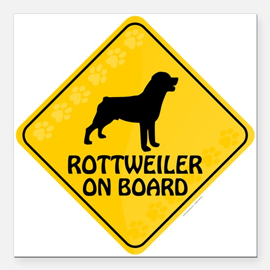 "Rottweiler On Board Square Car Magnet 3"" x 3"""