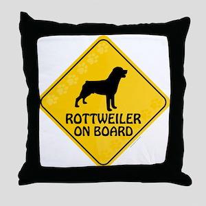 Rottweiler On Board Throw Pillow