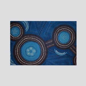 Australian Aboriginal Inspired Art Rectangle Magne