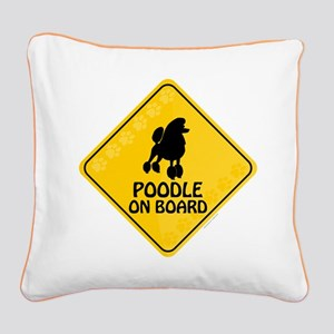 Poodle On Board Square Canvas Pillow