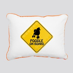 Poodle On Board Rectangular Canvas Pillow