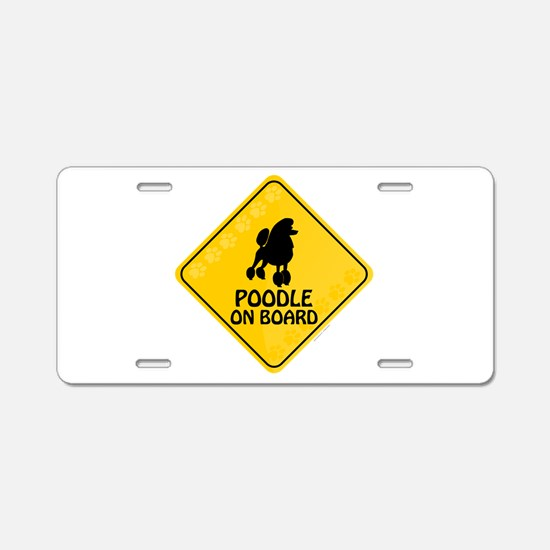 Poodle On Board Aluminum License Plate