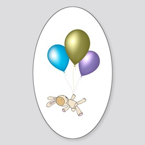 Cute Teddy and Balloons Art Sticker