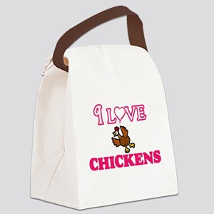 I Love Chickens Canvas Lunch Bag