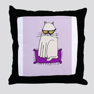 Morrissey the Cat with glasses Throw Pillow