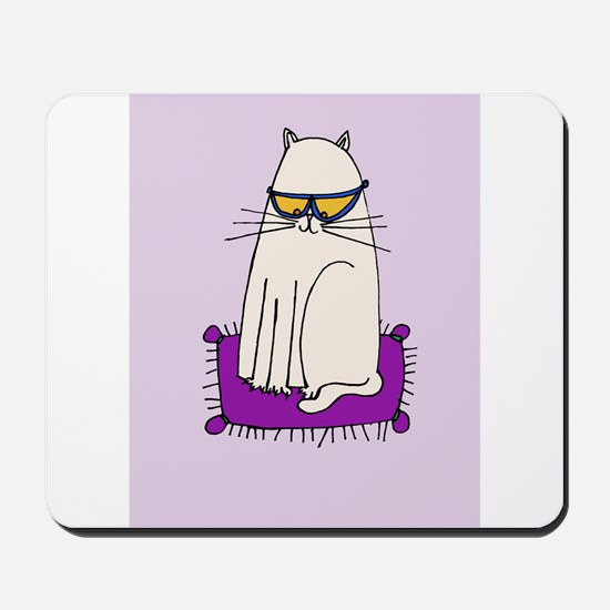 Morrissey the Cat with glasses Mousepad