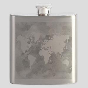 Design 49 World Map Grayscale Flask