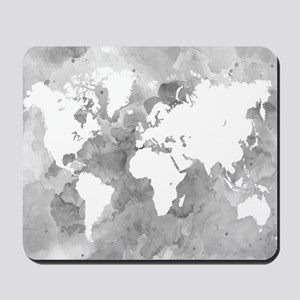 Design 49 World Map Grayscale Mousepad