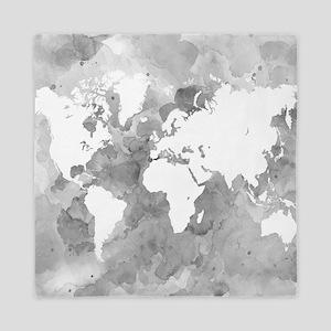 Design 49 World Map Grayscale Queen Duvet