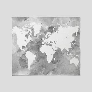 Design 49 World Map Grayscale Throw Blanket