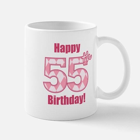 Happy 55th Birthday - Pink Argyle Mug