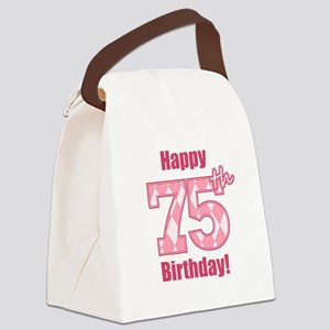 Happy 75th Birthday - Pink Argyle Canvas Lunch Bag