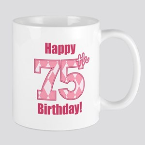 Happy 75th Birthday - Pink Argyle Mug