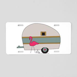 Camper Flamingo Aluminum License Plate